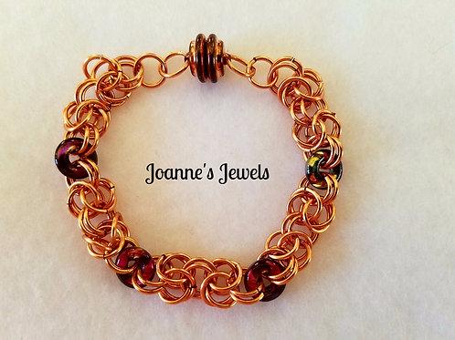 Copper and Glass Bead Byzantine Bracelet