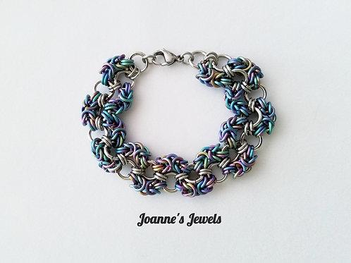Rainbow Anodized Titanium & Stainless Steel Zigzag Bracelet