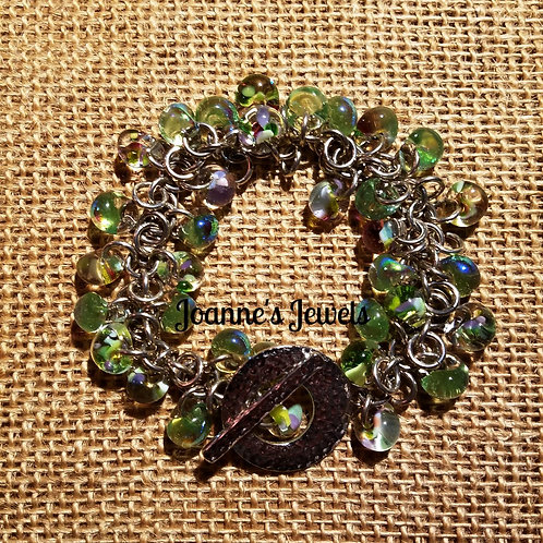 Jiggle Bracelet with Hand Blown Glass Beads