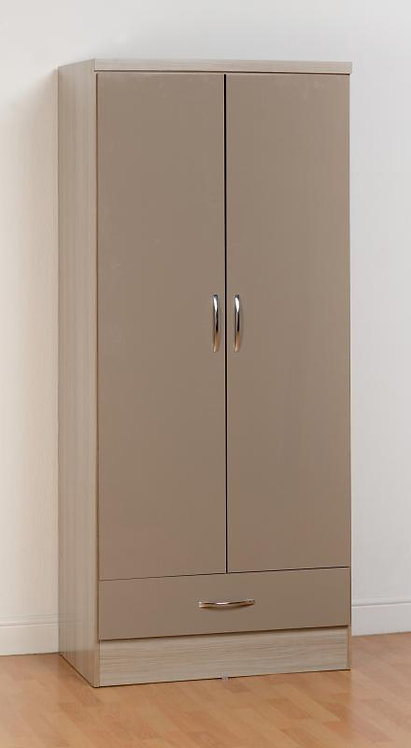 Nevada 2 Door 1 Drawer Wardrobe in High Gloss