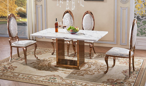 Tuscany Marble Dining Table + 6 Matching Chairs