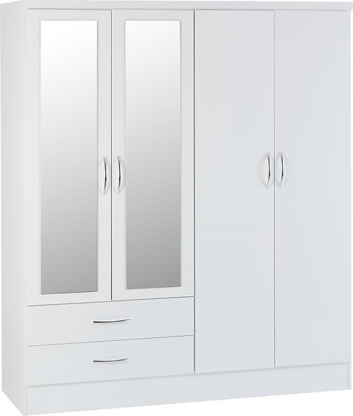 Nevada 4 Door 2 Drawer Mirrored Wardrobe High Gloss