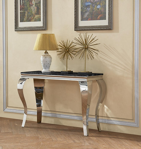 Arriana Marble Console Table with Stainless Steel Base