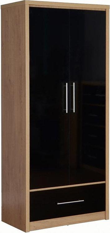 Seville 2 Door 1 Drawer Wardrobe with High Gloss Doors