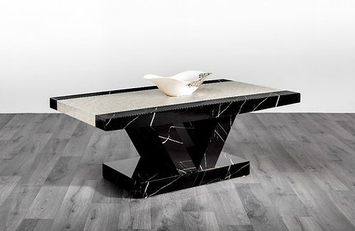 Soni Marble Effect Coffee Table (Black and Cream)