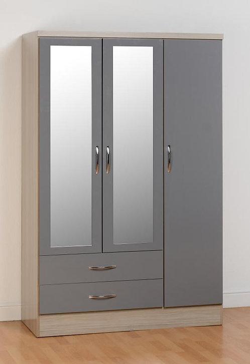 Nevada 3 Door 2 Drawer Mirrored Wardrobe High Gloss
