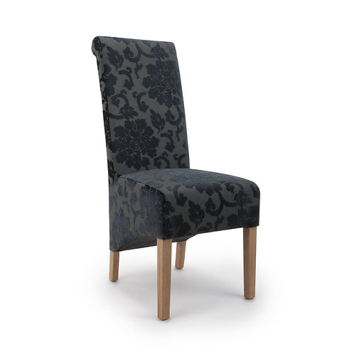 KRISTA ROLL BACK BAROQUE VELVET DINING CHAIR