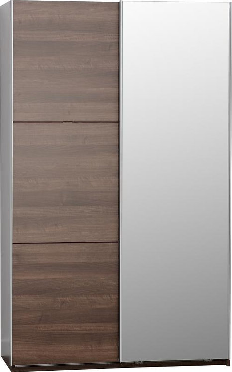 Bergen 2 Door Sliding Mirrored Wardrobe in Walnut Effect Veneer