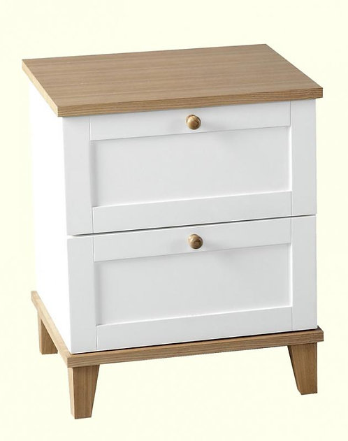 Arcadia 2 Drawer Bedside Chest in White/Ash Effect Veneer