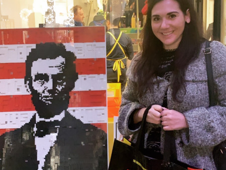 LEGO Lincoln Artwork in Rockefeller Center New York City