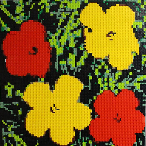 "LEGO WARHOL FLOWERS  30""X30"""