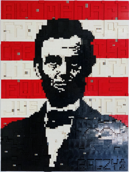"""LEGO LINCOLN , ALL MEN ARE CREATED EQUAL 30"""" X 40"""""""