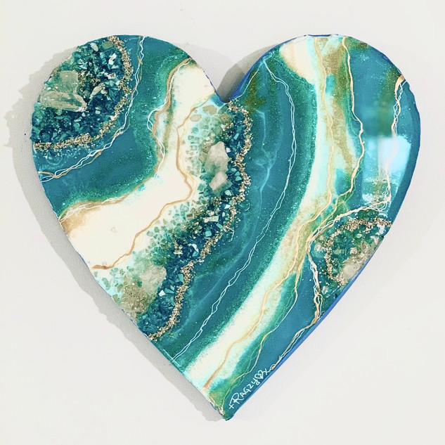 Turquoise Geode Crystal Heart