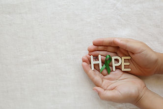 HOPE with Lime Green Ribbon on hands ,Ly