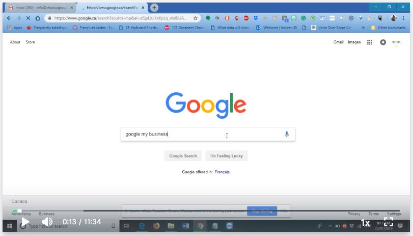 Screen shot of Google My Business