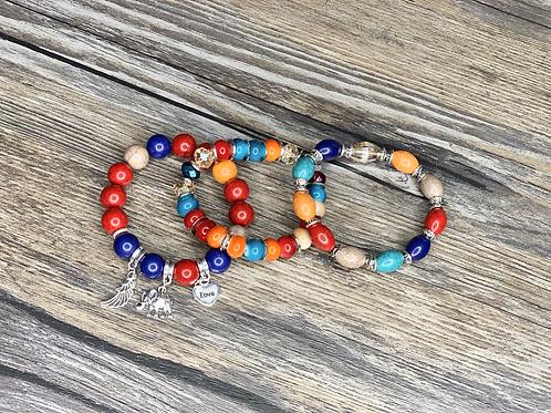 Peace Coming Multi-Color Love/Elephant 3 Bead Bracelet Set