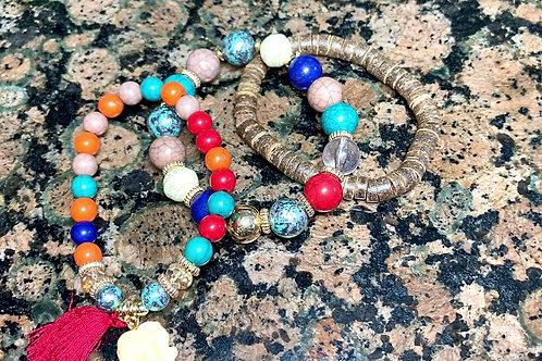 Barbados Tassel/Elephant 3 Bead Bracelet Set
