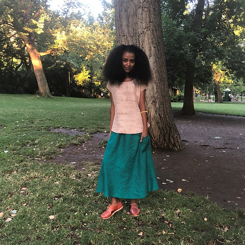 Aloe Laundered Linen Pocket Skirt