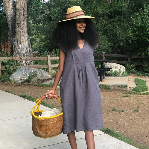 Grey Linen Tunic Dress with Pockets