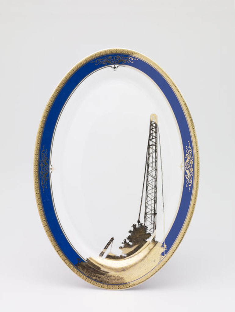 Crane on Blue Platter, 2007