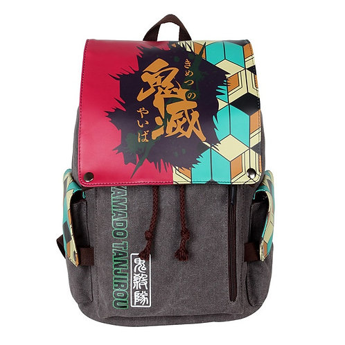 DEMON SLAYER - Canvas and PU Leather Backpack
