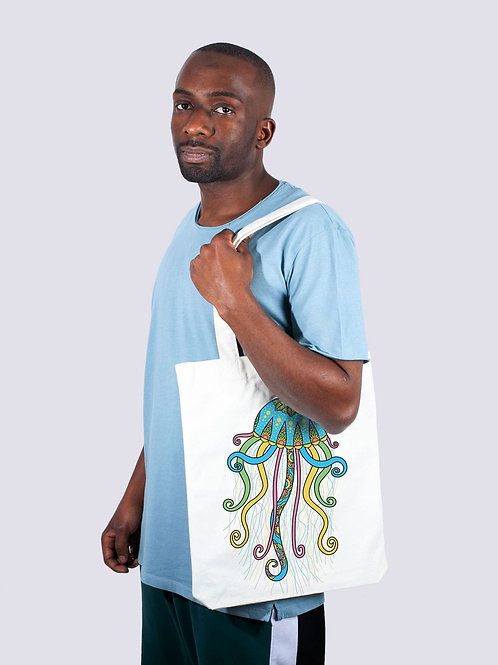 Tasche, Jutebeutel, fairwear, fairtrade, Nachhaltig, Beutel, Stofftaschen, cool, Rochen Meer, Geschenkide, Qualle, Meer