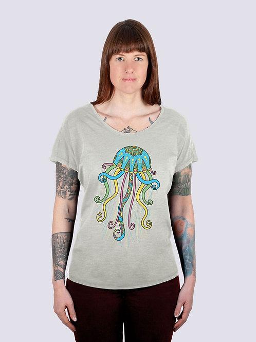 Shirt, t-shirt, bio, bio Baumwolle, fairwear, fairtrade, nachhaltig, vis, vis wear, Frauen, vegan, Qualle, Meer, Strand
