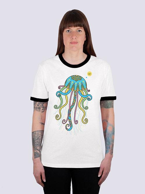 bio, bio Baumwolle, fair wear, t-shirt nachhaltig, vis wear, shirt, vegan, Frauen, cool, geschenkidee, Ringer, Qualle, Meer