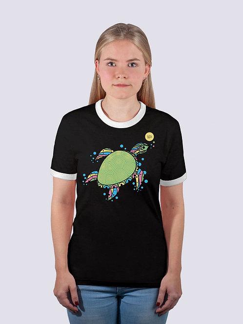 bio, bio Baumwolle, fair wear, t-shirt nachhaltig, vis wear, shirt, vegan, Frauen, cool, geschenkidee, Ringer, Schildkröte