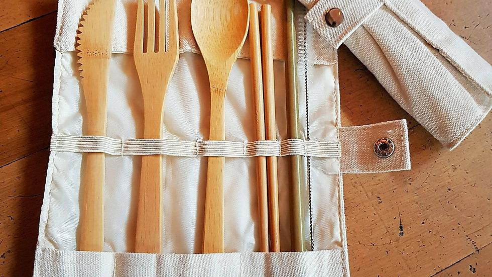 Wooden Travel Tableware Set