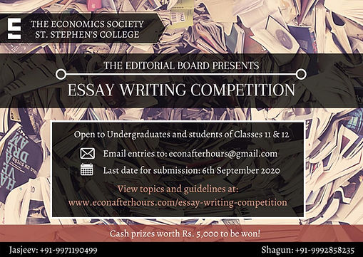 Essay Writing Competition, St. Stephen's College Economics, Dehi