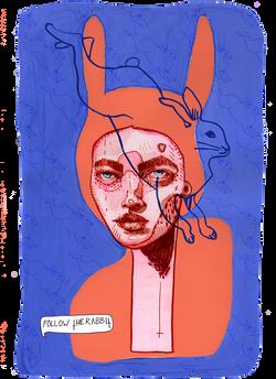 rabbit alice Illustration art der kreisende pfeil sandra albrecht