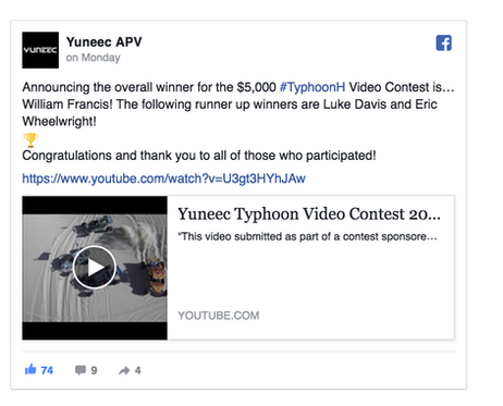 We won the $5000 Yuneec Typhoon H Video Contest!