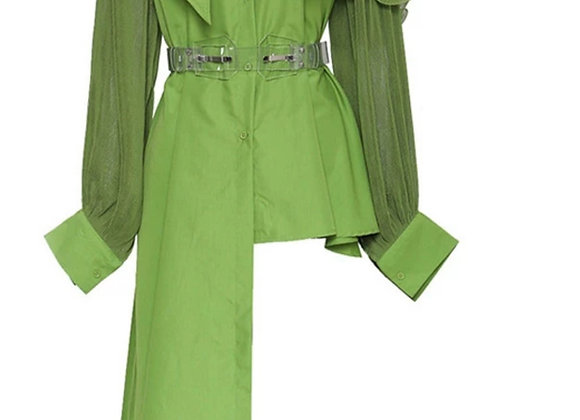 Hi-Lo Lantern Collar Shirt Dress
