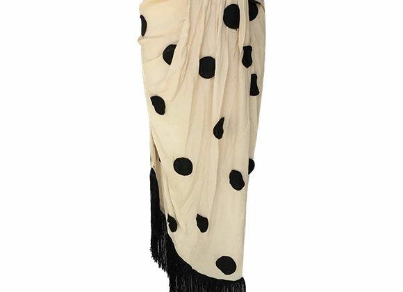 Polka Dot Fringe Skirt