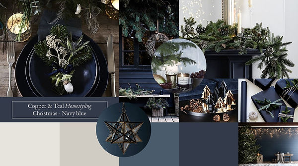 Mood board landscape christmas navy and