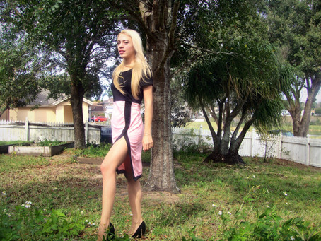 #ootd - pink dress in forest