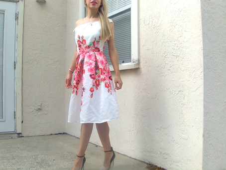 #ootd - white dress with red floral print
