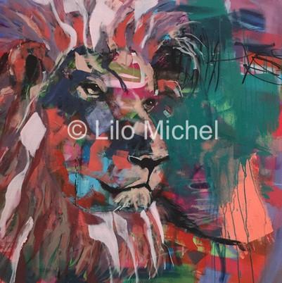 Löwe expressiv 100 x 100  verkauft