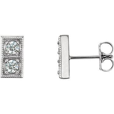 The Two Stone Blue Diamond Earrings