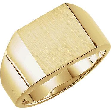The Brushed Minimal Signet Ring