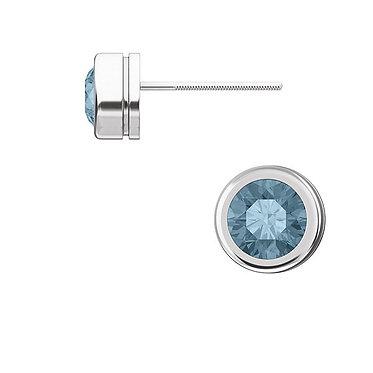 The Round Bezel BLUE Diamond Earring