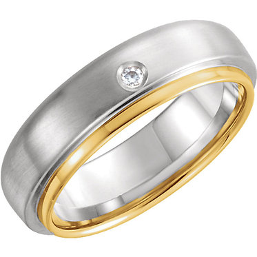 The Flat Edge Two Tone Diamond Wedding Ring
