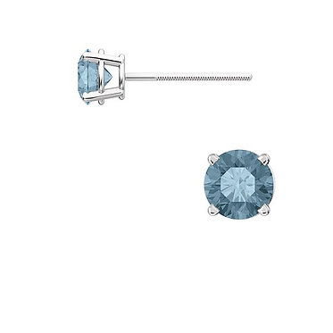 The Round 4 Prong BLUE Diamond Earring