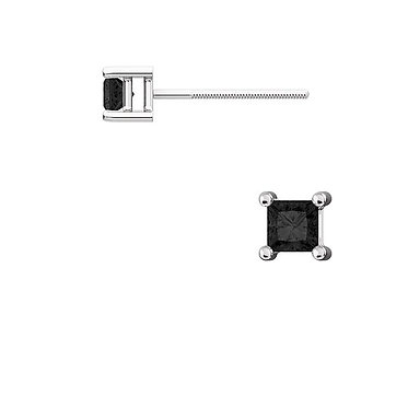 The Square BLACK Diamond 4 Prong Earrings