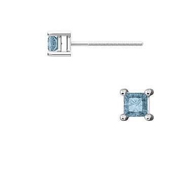 The Square TEAL BLUE DIAMOND 4 Prong Earring