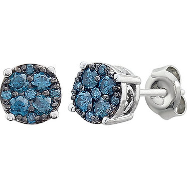 The Cluster Blue Diamond Earring