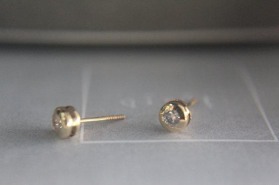 Bezel Diamond Earrings