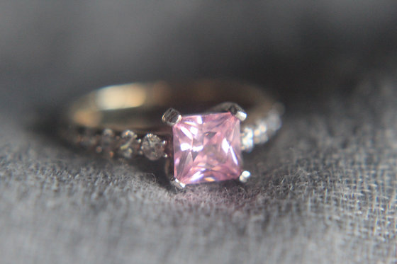 The Princess Cut Accented Solitaire Gold Ring (CZs)