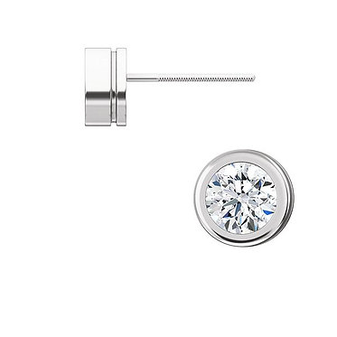 The Round Bezel MOISSANITE Earring